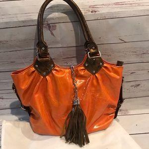 Satchel Handbag Purse Orange Bronze Tassel NWOT